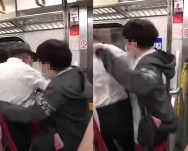 搭火車寵物放博愛座被抓走 女猛撲老翁往死裡尻爆。(翻攝自 爆料公社)