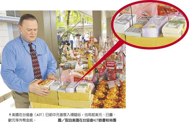 美國在台協會(AIT)日前中元普度入境隨俗,也用起美元、日圓、歐元等外幣金紙。圖/取自美國在台協會AIT臉書粉絲團