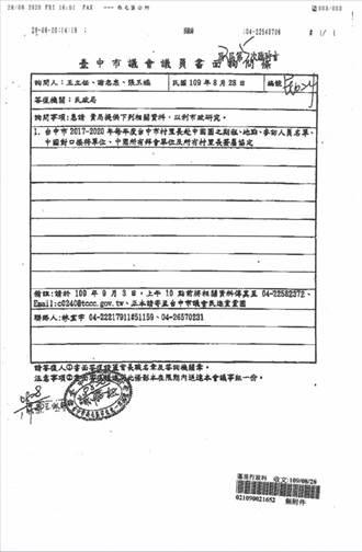 台中民進黨議員下質詢條要求調查里長赴陸 藍綠都要求政風處釐清