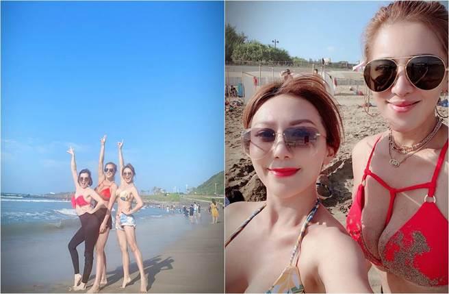 佩甄和好姊妹小禎、廖家儀辣穿比基尼,畫面超養眼。(圖/取材自李佩甄臉書)