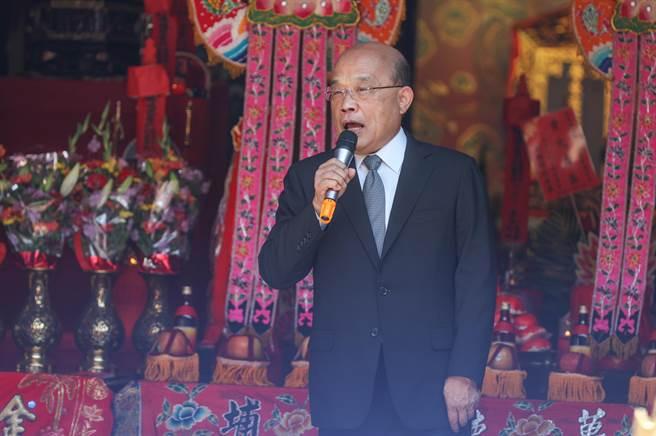 行政院長蘇貞昌指政府對美豬進口會嚴格把關。(羅浚濱攝)