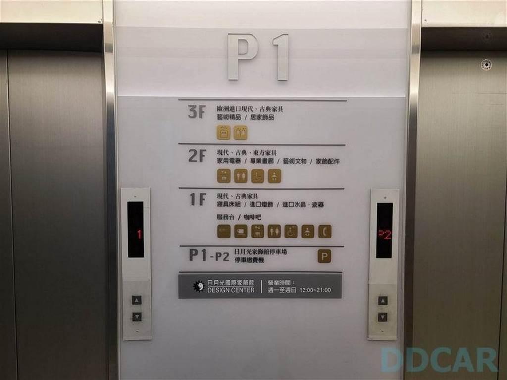 超充位於 P1,繳費機和廁所都在 P2,可搭乘電梯或走安全梯前往。
