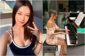 钢琴女神穿错衣服弹琴卡卡 露出整片肉色险走光