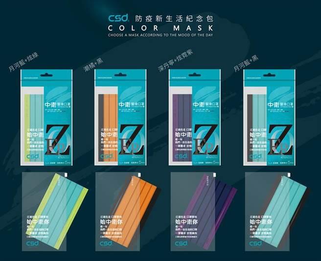 家樂福宣布9/9起全台家樂福量販店開賣中衛「防疫新生活紀念包」彩色口罩,每人限購1包。圖/業者提供