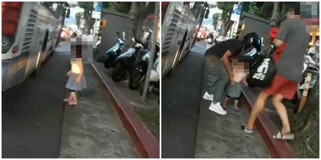 女童突竄出在車多的馬路上,差點就釀成意外,而網友都憤怒表示家長到底在幹嘛?(圖/翻攝自爆料公社)