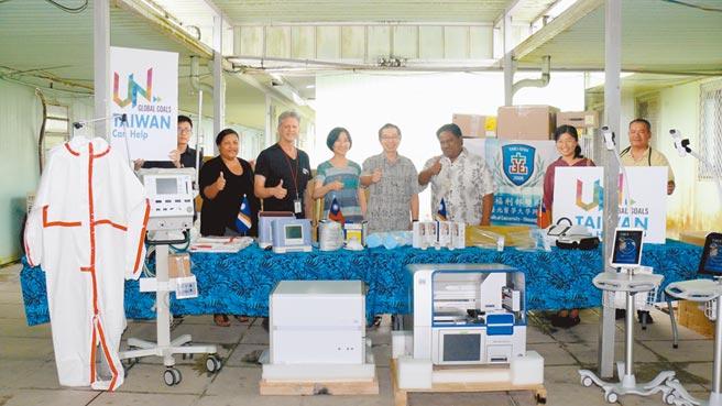 外交部委託雙和醫院捐贈馬紹爾群島總價超過400萬元防疫物資。(雙和醫院提供/葉書宏新北傳真)