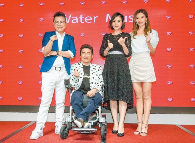 沈玉琳(左)、方千玉(右起)與李亮瑾昨出席記者會力挺蔡義德。(盧禕祺攝)