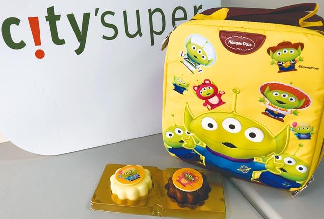 哈根達斯「童心繫夢」冰淇淋月餅禮盒,從保冷袋到包裝、月餅都是三眼怪造型,6入預購價1880元。(city'super提供)