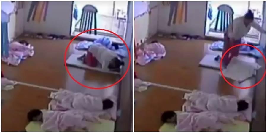 又驚傳幼兒園保母重壓在孩子身上欲哄睡,讓人看了相當憤怒。(圖/翻攝自靠北惡質幼兒園)