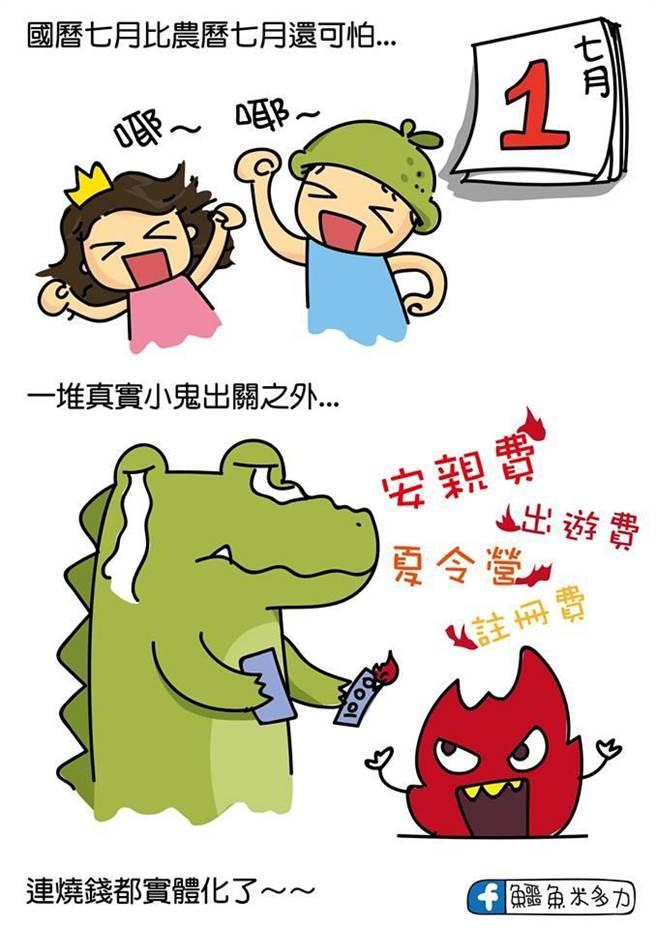 警方以時下網路流傳的網路紅人插畫家鱷魚米多力的「校門關與鬼門開」的風趣圖片,進行校園安全宣導。(翻攝照片/張妍溱台中傳真)