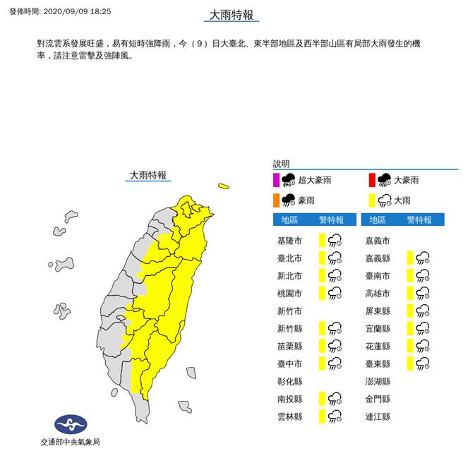 對流雲系發展旺盛,易有短時強降雨,今(9)日大臺北、東半部地區及西半部山區有局部大雨發生的機率,請注意雷擊及強陣風。(氣象局)