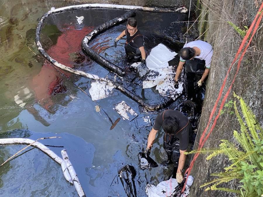 橫山鄉中華街排水溝出現油汙,環保局追查確認是中油早年為亞泥鋪設的供油管線漏油。(縣府提供/羅浚濱新竹傳真)