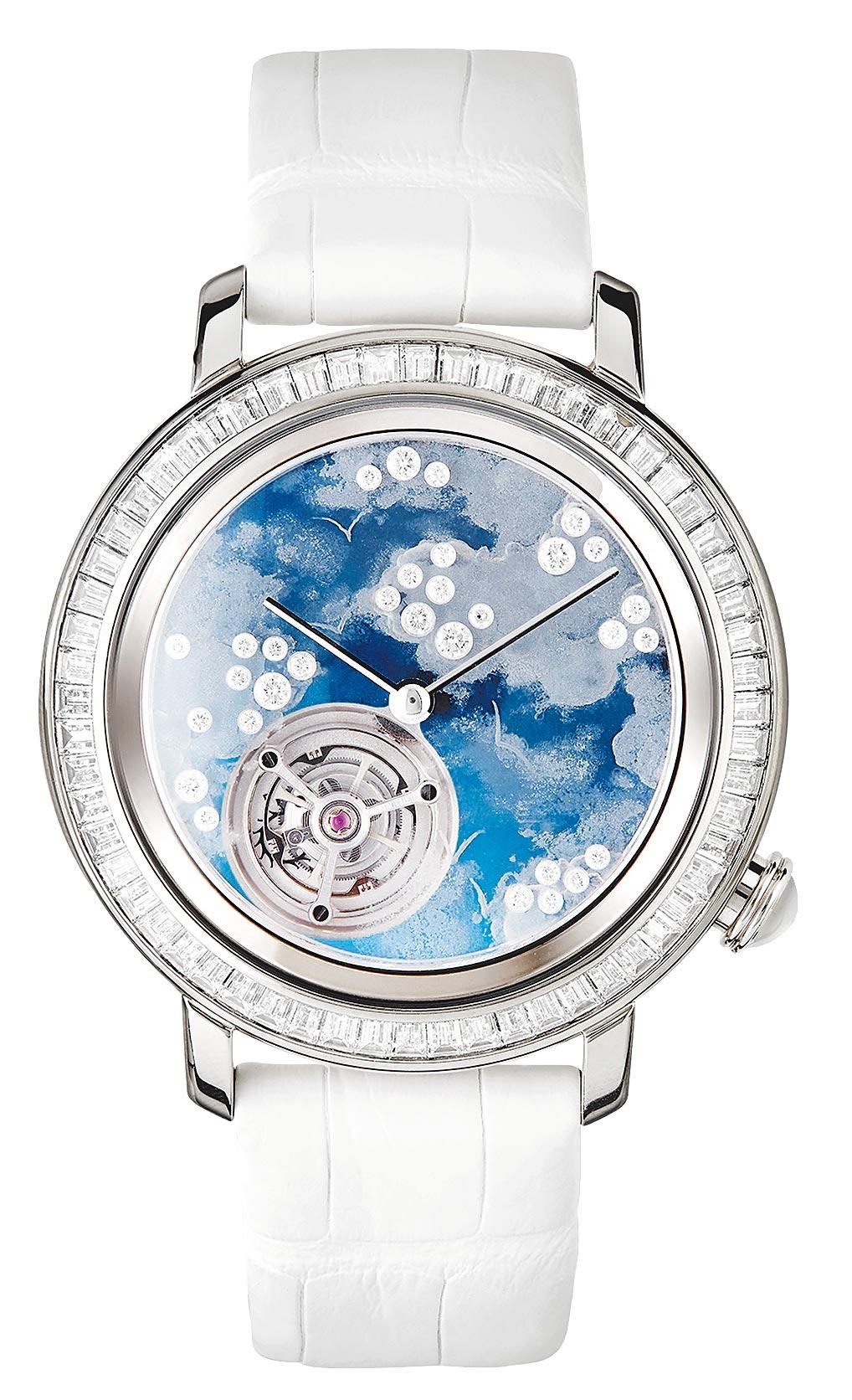 寶詩龍Epure系列Miroirs Infini主題陀飛輪腕表,表盤彩繪白雲飛鳥,770萬。(Boucheron提供)