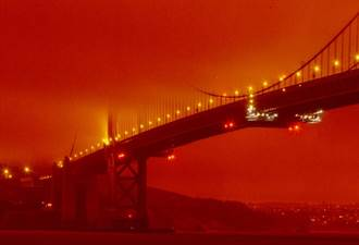 影》加州森林野火染紅天空 舊金山灣區宛如末日火星