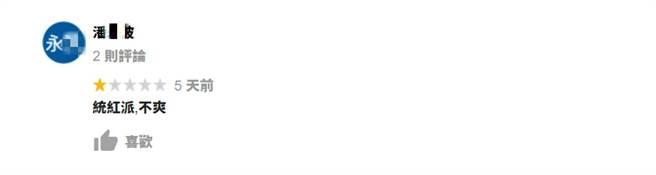 該名潘姓綠粉不滿老闆抱怨美豬政策,到Google評論嗆「紅統派」並給一星負評 (圖/翻攝自Google評論)