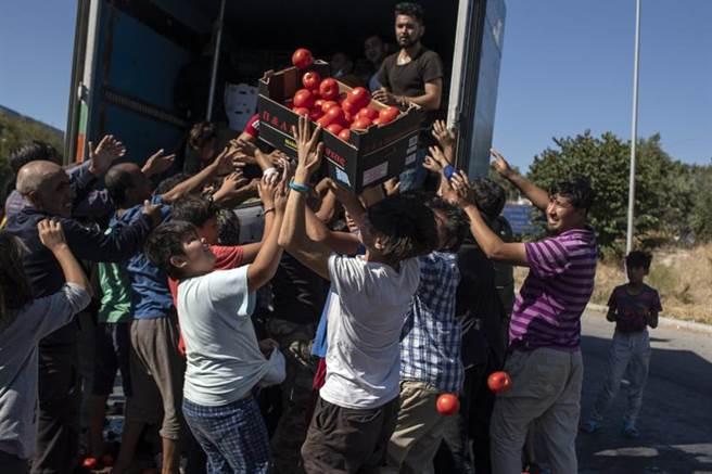 擠了1萬3千名非法移民的希臘摩利亞難民營,日前發生大火,幾乎付之一炬。當難民看見運送物資卡車到來,爭先恐後搶拿番茄。(美聯社)