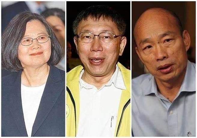 總統蔡英文(左)、柯文哲(中)、韓國瑜(右)。(圖/合成圖,本報資料照片)