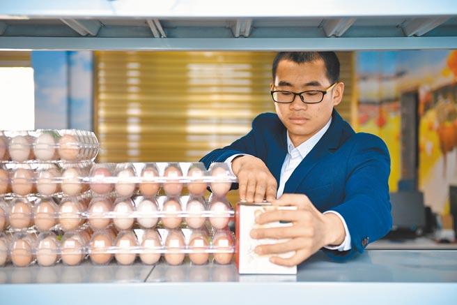 北漂多年的胡甫國,返回家鄉湖南郴州市養雞。圖為他在辦公室內整理貨架。(新華社)