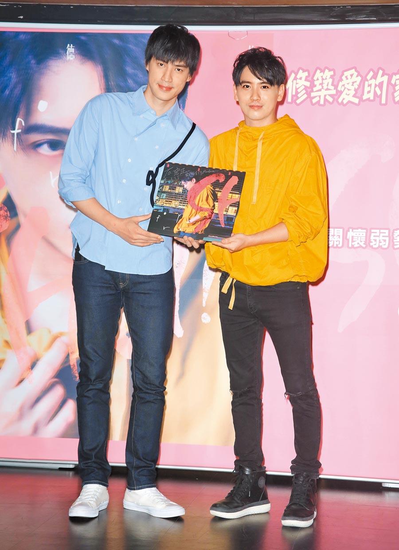陳德修(右)昨舉行新歌發表暨公益記者會,羅宏正到場力挺。( 紅心字會提供)