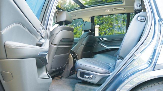 BMW Individual Merino皮革造就豪華座椅,圖中可見後座專屬電調按鈕及Sky Lounge全景天窗。攝影/于模珉