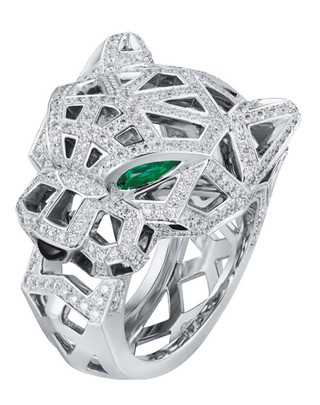 微風廣場獨家Cartier Panthere Graphic白金戒指,價格店洽。(微風提供)