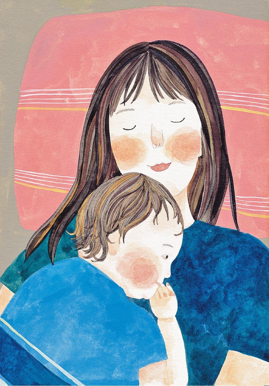 《Soupy媽媽日記》描述插畫家湯舒皮自懷孕起對育兒的想像,以及真正面臨孩子出生後的酸甜苦辣。(大塊文化提供)