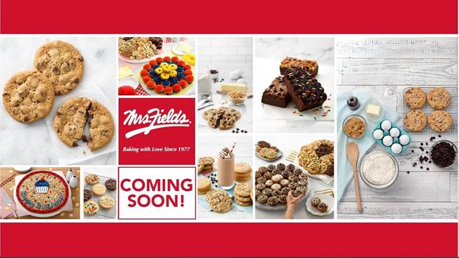 風靡全球33個市場、年銷7千萬片,美國經典餅乾品牌「Mrs. Fields」9月17日正式插旗台灣東區。(圖:Mrs. Fields菲爾斯太太餅乾提供)
