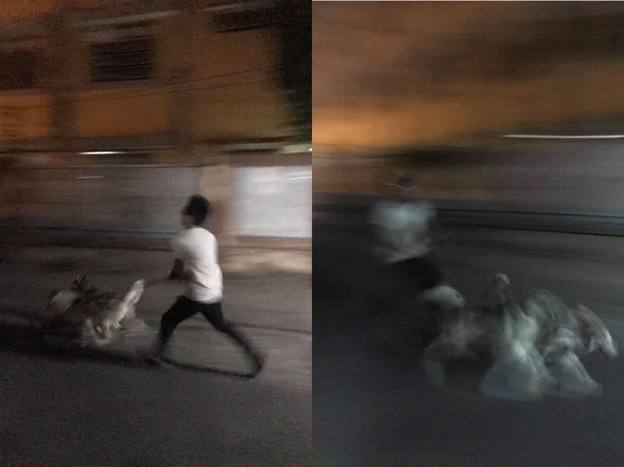 主人無奈只能跟著二哈一起跑,照片裡人與狗都呈現模糊(圖翻攝自/爆廢公社二館)