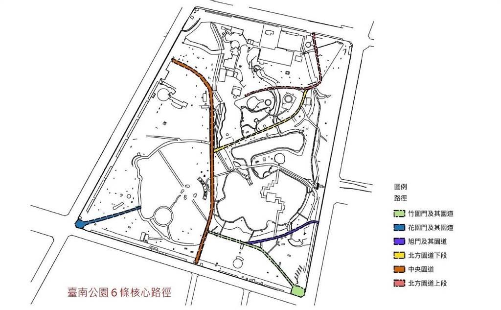 台南公園將規畫6條核心路線。(文資處提供/李宜杰台南傳真)