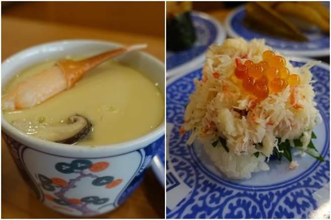(左起)蟹爪茶碗蒸、豪華松葉蟹。(黃采薇攝)