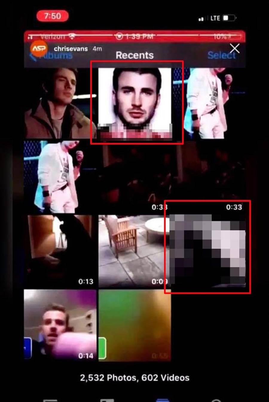 克里斯伊凡截取手機相簿畫面PO出,除大鵰照外,還有帥臉配上18禁文字,引發熱議。(翻攝自推特/jumpfall__)
