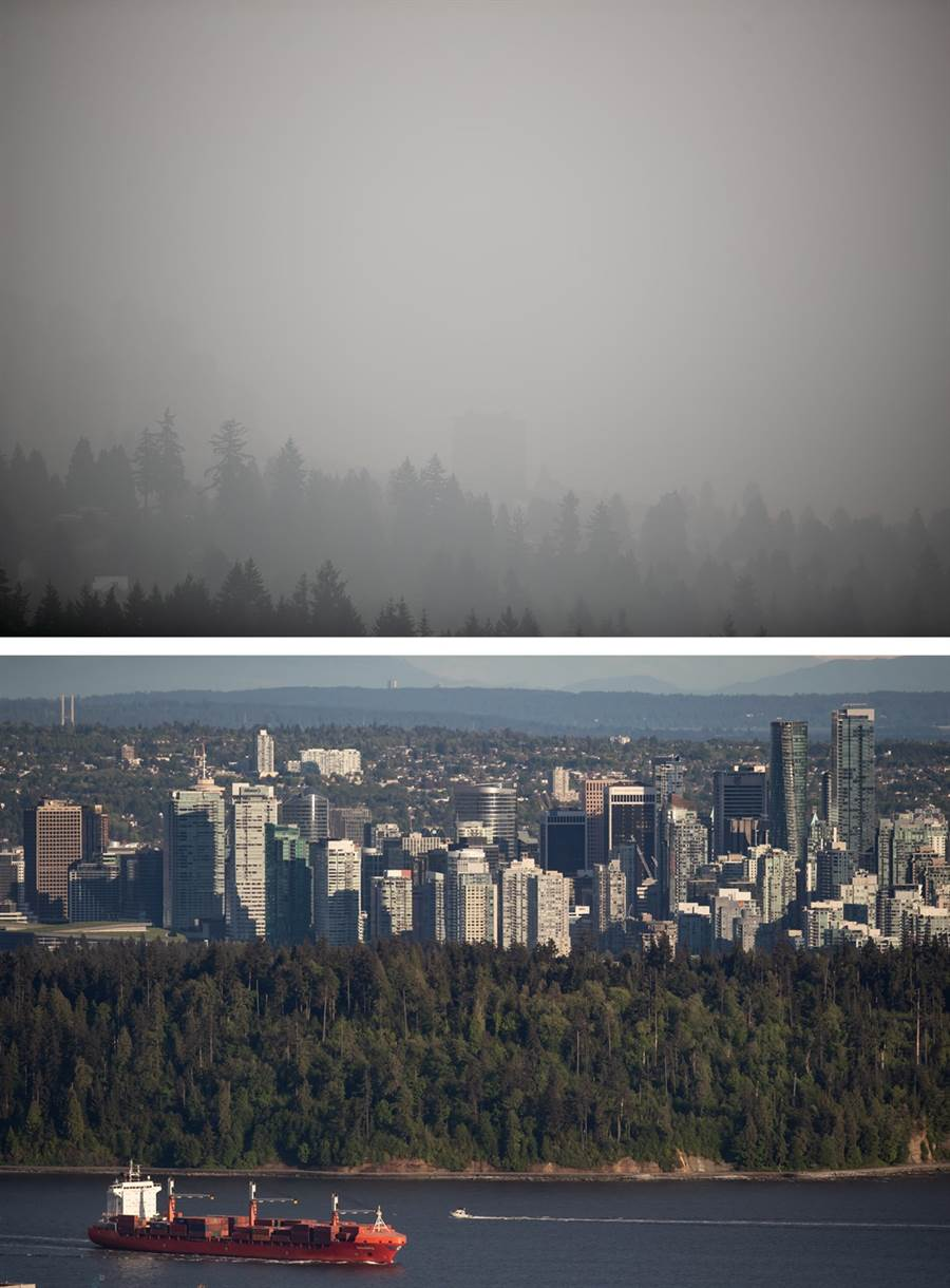 野火持續肆虐美國西岸之際,大片霧霾已經飄向北方,12日加拿大溫哥華淪為全球空汙最嚴重的城市,天空染成灰濛濛一片,市區建築物已看不清。圖上為12日溫哥華天空畫面對比圖下5月同一場景的畫面。(圖/TPG、達志影像)