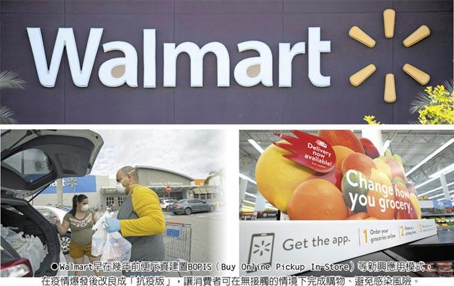 Walmart早在幾年前便斥資建置BOPIS(Buy Online Pickup In-Store)等新興應用模式,在疫情爆發後改良成「抗疫版」,讓消費者可在無接觸的情境下完成購物、避免感染風險。