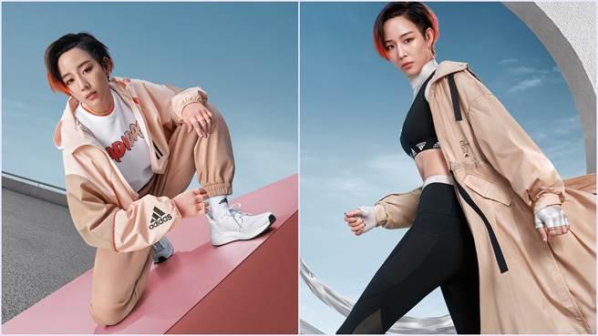 張鈞甯穿adidas柔和奶茶色Outer Jacketr工裝及風衣外套,成就最受矚目早秋街頭穿搭。(圖/品牌提供)