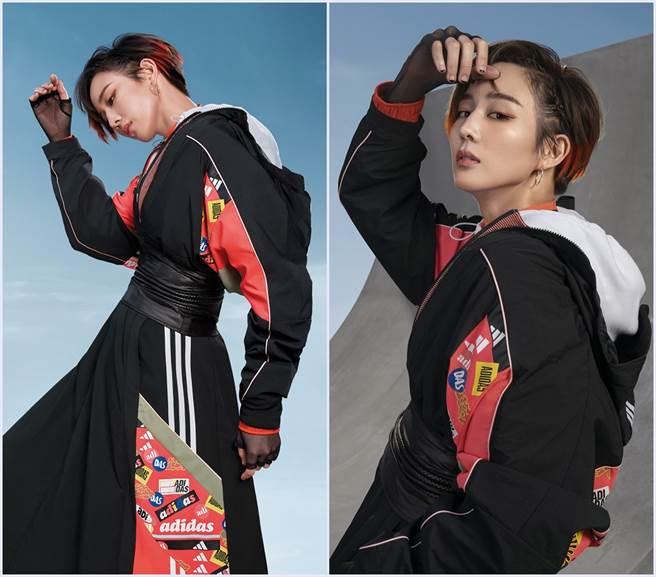 張鈞甯以adidas黑粉撞色相接的Outer Jacket風衣外套搭配同款傘狀長裙,展現率性街頭氣場。(圖/品牌提供)
