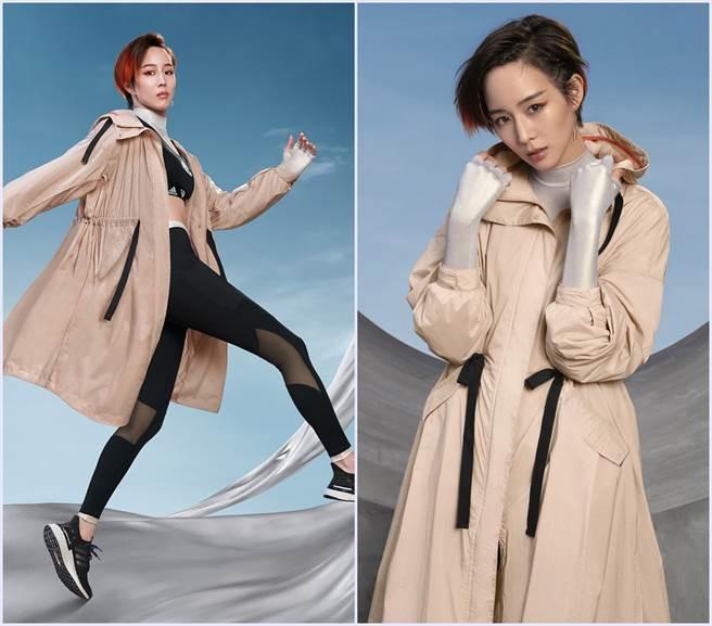 張鈞甯演繹的adidas Outer Jacket風衣,輕巧透氣布料舒適不悶熱,在天氣變化難以預測的早秋氣候,輕鬆為秋冬造型定番。(圖/品牌提供)