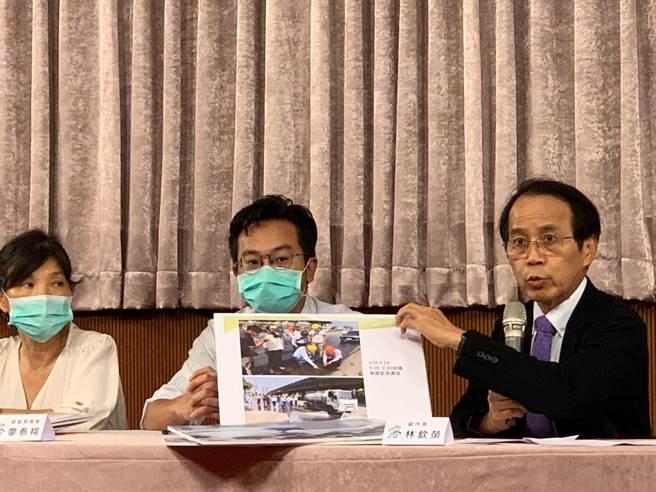 高市副市長林欽榮(右)負責督導此次乙烯外洩事件,要求業者及市府內部必須做檢討精進。(柯宗緯攝)