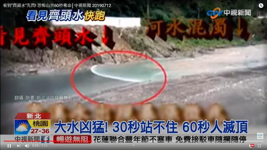 究竟溪水暴漲多麼恐怖,網友翻出以前溪水暴漲影片「60秒直接滅頂」畫面超震撼。(翻攝自中視新聞)