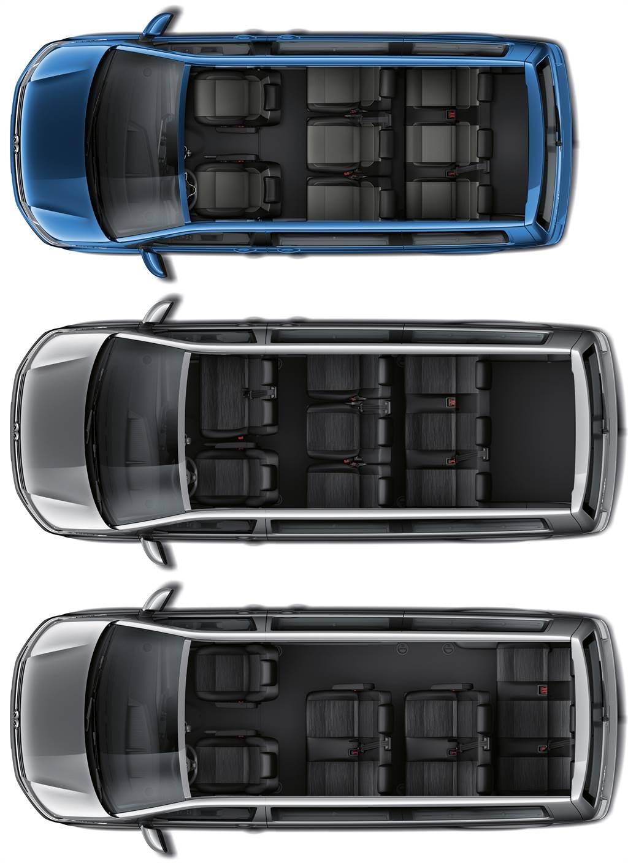提供短軸8座、長軸3排9座、長軸4排9座三種座椅配置。
