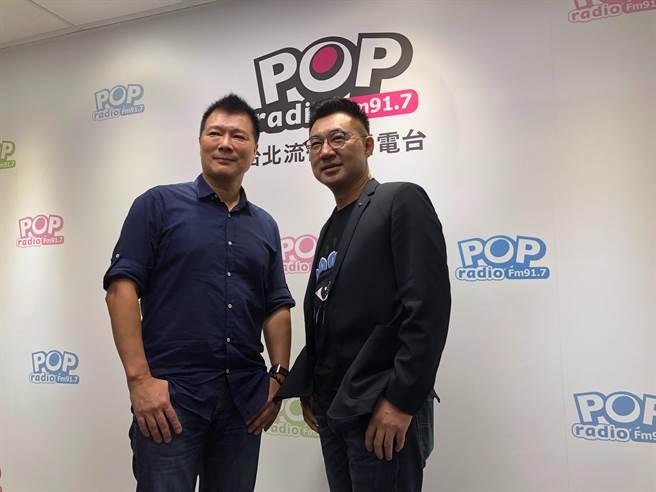 國民黨主席江啟臣下午接受《POP大國民》廣播專訪。(趙婉淳攝)