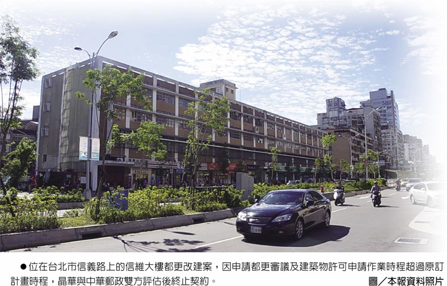 位在台北市信義路上的信維大樓都更改建案,因申請都更審議及建築物許可申請作業時程超過原訂計畫時程,晶華與中華郵政雙方評估後終止契約。圖/本報資料照片
