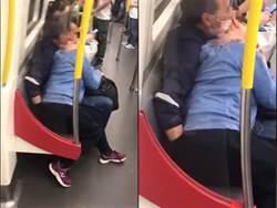 火車激情「成人版」男手伸進褲狂挖 女難耐猛扭臀