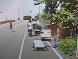 情侶吵架 女方拉方向盤車子自撞電線桿 1死1傷