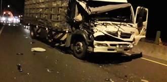 西濱苑裡運鴨車追撞大貨車 籠破鴨子趁機壓馬路