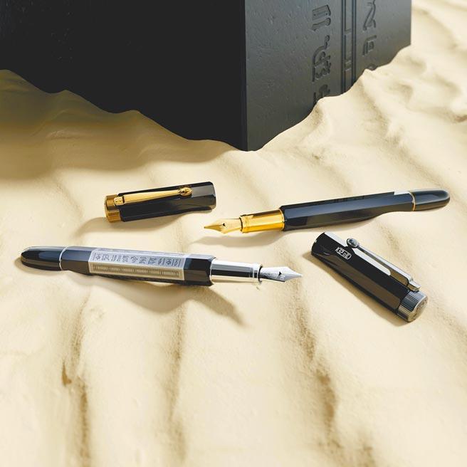 萬寶龍傳承系列「埃及狂熱」鋼筆,充滿異國風情,連logo也換成埃及文。(Montblanc提供)