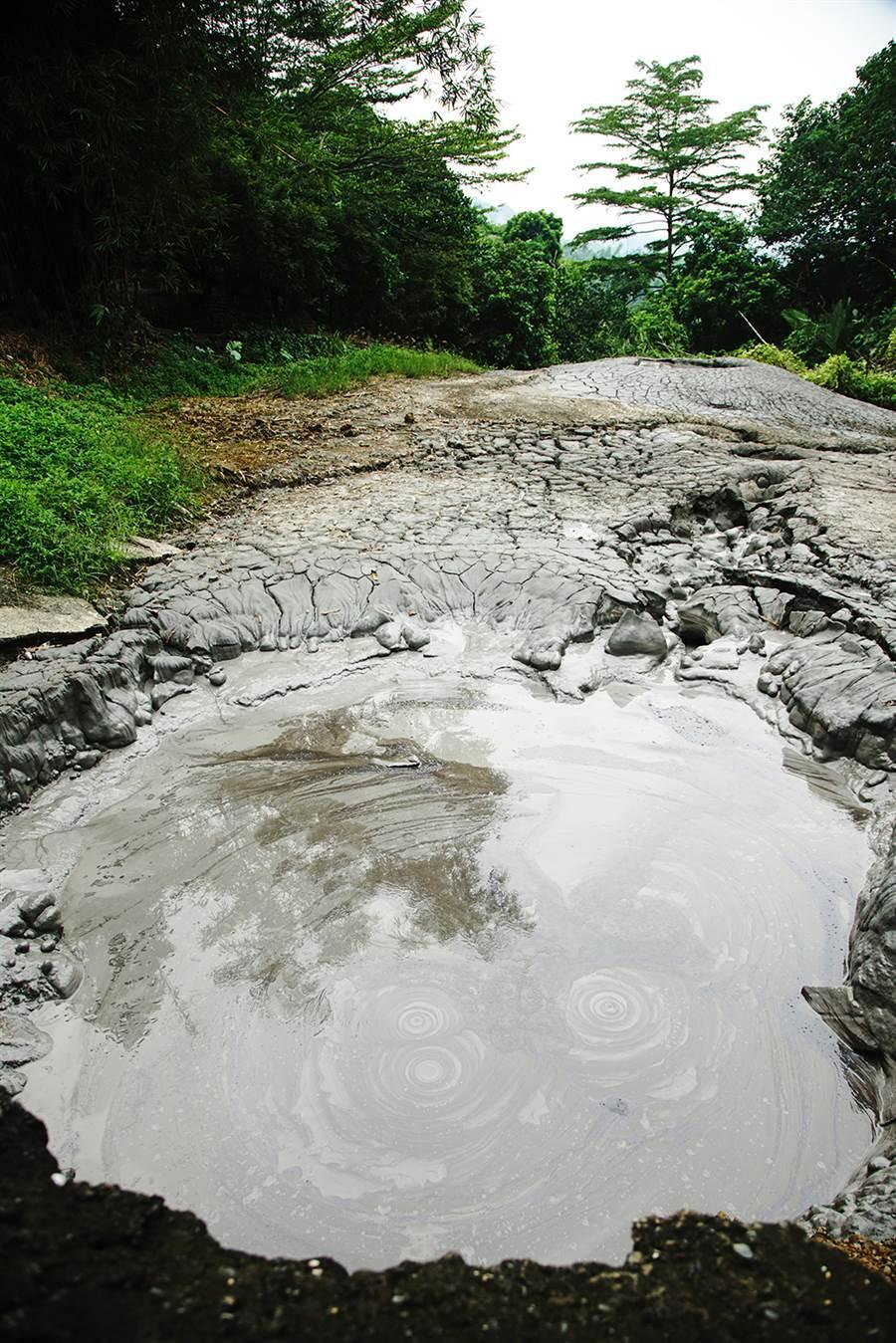 養女湖由泥火山噴出造成,湖略呈圓形,直徑約6公尺。(攝影/曾信耀)
