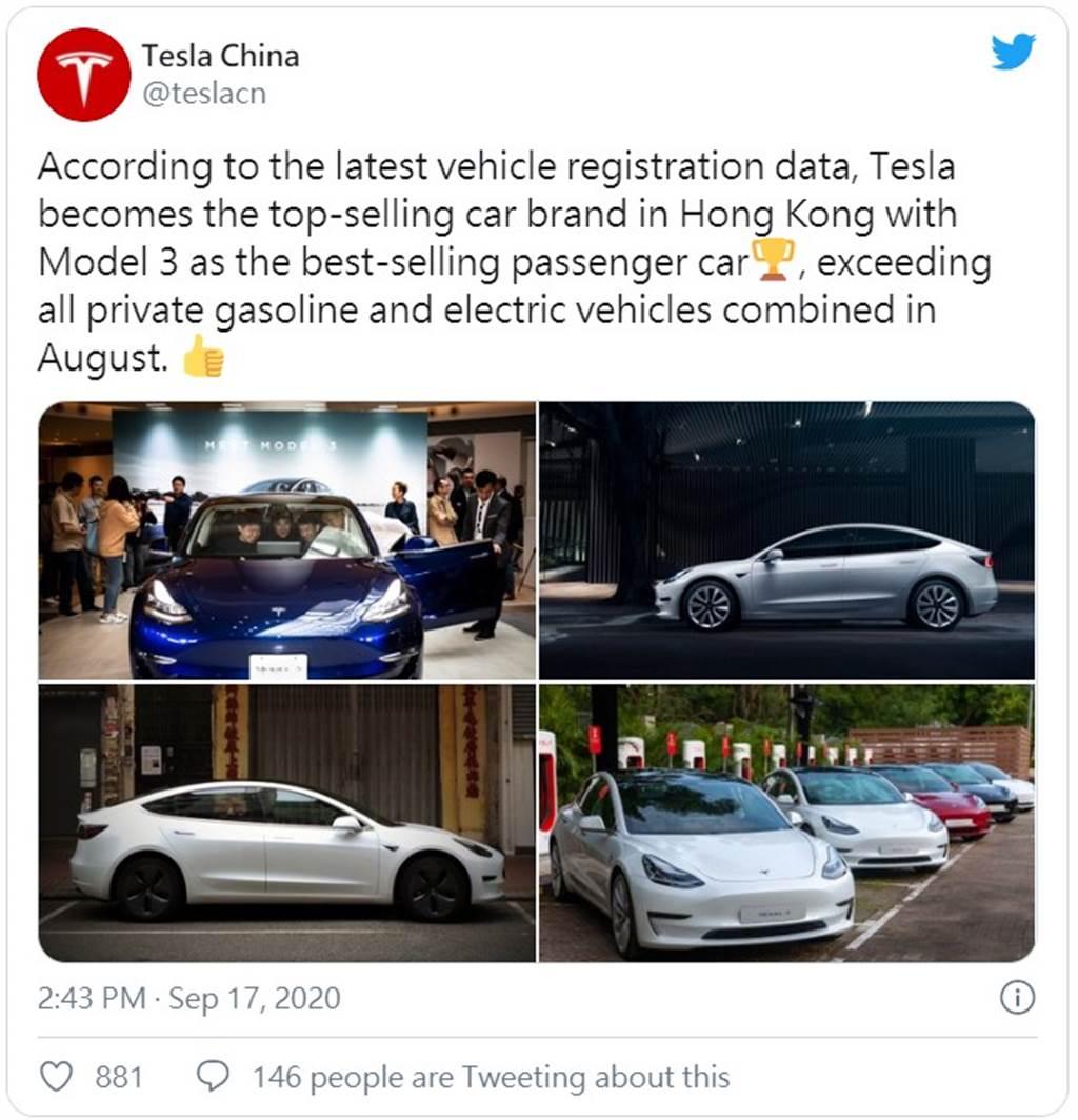 燃油車也不敵!特斯拉八月稱霸香港車市,Model 3 單月銷量全港第一名