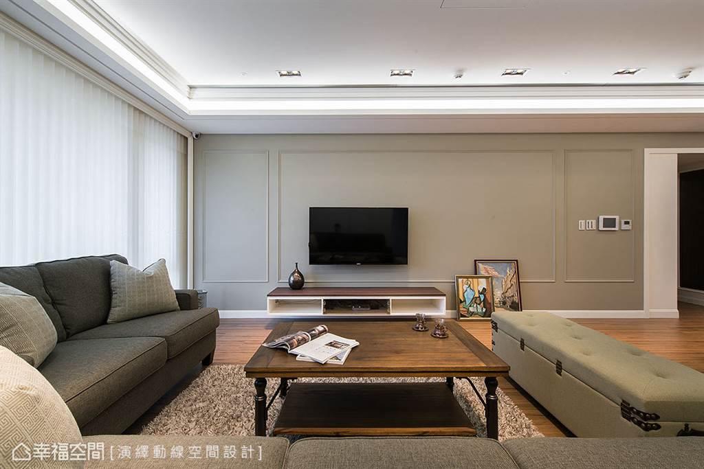 優雅的大地色與線板搭配形成幾何方框序列,展現線條比例之美,柔化牆面表情。