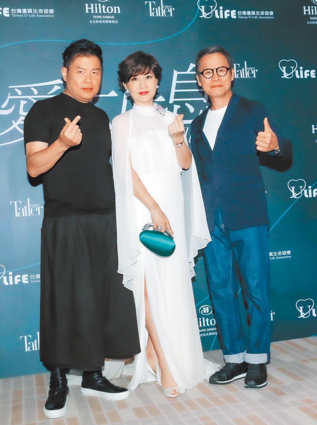 曾國城(左起)、方芳芳、羅大佑昨出席「2020 愛不止息慈善晚會」。(盧禕祺攝)