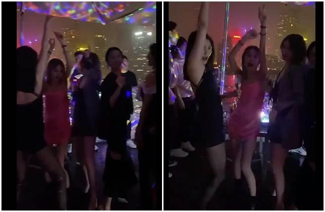 關曉彤(黑衣者)慶生與一票美女友人火辣熱舞,被指人設崩壞。(取自微博)